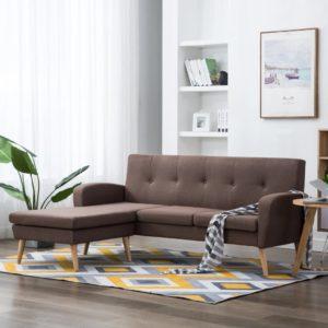 Sofa in L-Form Stoffbezug 186 x 136 x 79 cm Braun