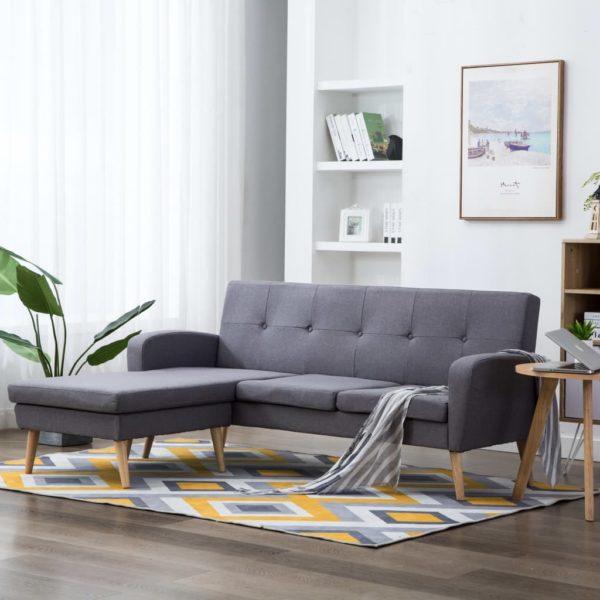 Sofa in L-Form Stoffbezug 186 x 136 x 79 cm Hellgrau