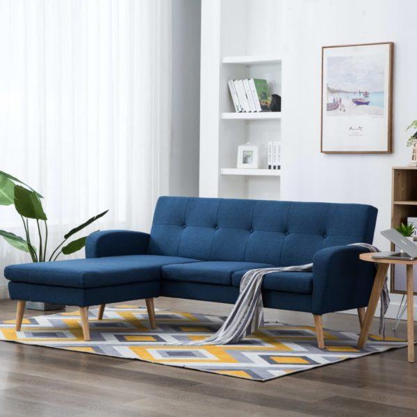 Sofa in L-Form Stoffbezug 186 x 136 x 79 cm Blau