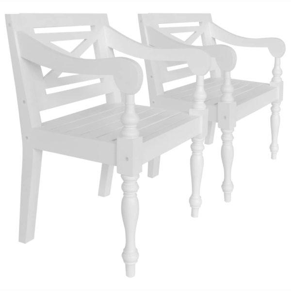 Batavia-Stühle 2 Stk. Weiß Mahagoni Massivholz