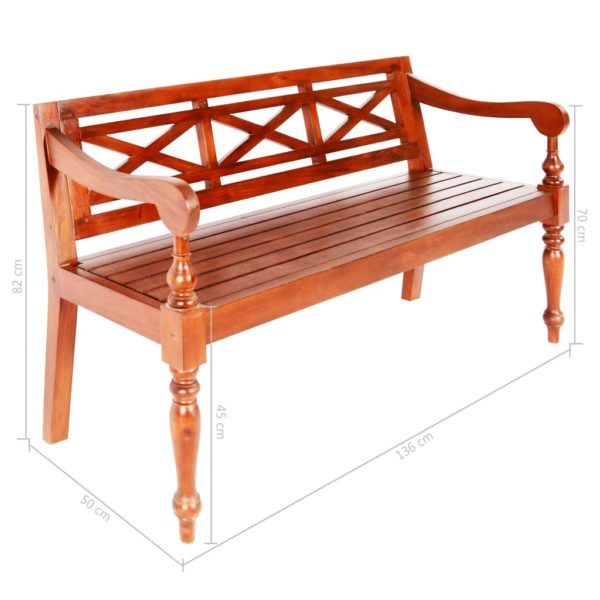 Batavia-Sitzbank 136 cm Mahagoni Massivholz Dunkelbraun