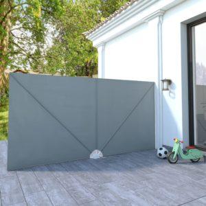 Faltbarer Terrassen-Seitenfächer Grau 400×200 cm