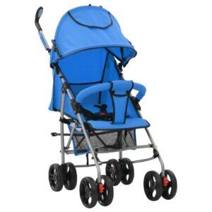 2-in-1 Kinderwagen Buggy Klappbar Blau Stahl