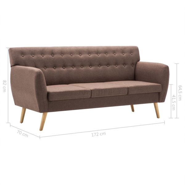 3-Sitzer-Sofa Stoffbezug 172x70x82 cm Braun