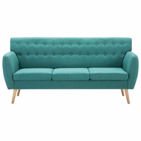 3-Sitzer-Sofa Stoffbezug 172x70x82 cm Grün