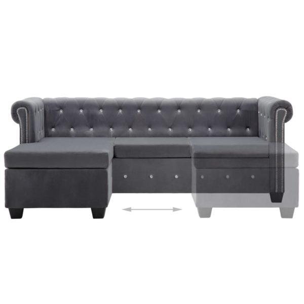 Chesterfield Sofa L-förmig Samtbezug 199x142x72 cm Grau