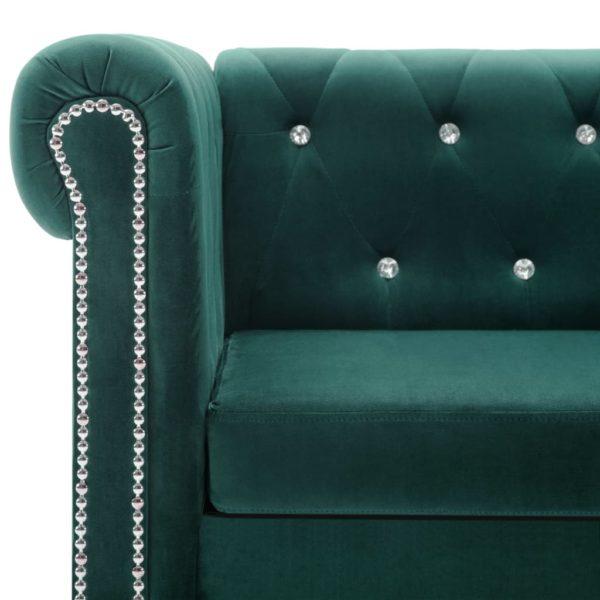 Chesterfield Sofa 2-Sitzer Samtbezug 146 x 75 x 72 cm Grün