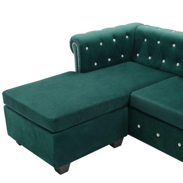 Chesterfield Sofa L-förmig Samtbezug 199x142x72 cm Grün