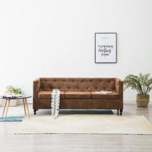 Chesterfield-Sofa 3-Sitzer Stoffpolsterung Braun Wildlederoptik