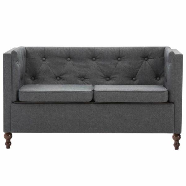 Chesterfield-Sofa 2-Sitzer Stoffpolsterung Dunkelgrau