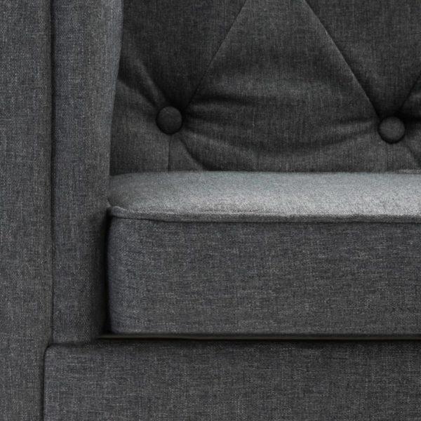 3-Sitzer Chesterfield-Sofa Stoffpolsterung Dunkelgrau
