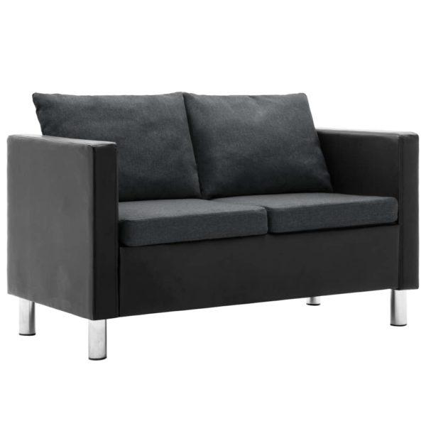 2-Sitzer-Sofa Kunstleder Schwarz und Dunkelgrau