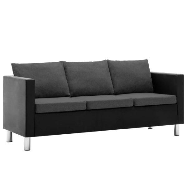 3-Sitzer-Sofa Kunstleder Schwarz und Dunkelgrau