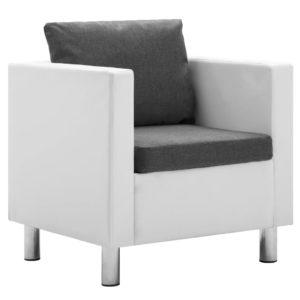 Sessel Weiß und Hellgrau Kunstleder