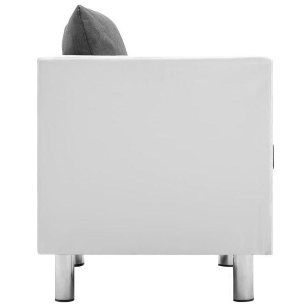 2-Sitzer-Sofa Kunstleder Weiß und Hellgrau