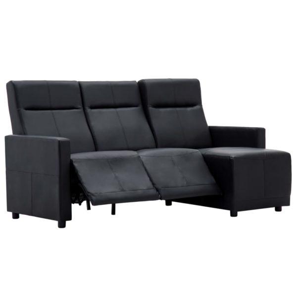 Sofa L-förmig Verstellbar Kunstlederpolsterung Schwarz
