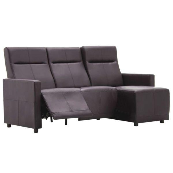 Sofa L-förmig Verstellbar Kunstlederpolsterung Braun