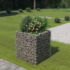 Gabionen-Hochbeet Verzinkter Stahl 90×90×100 cm