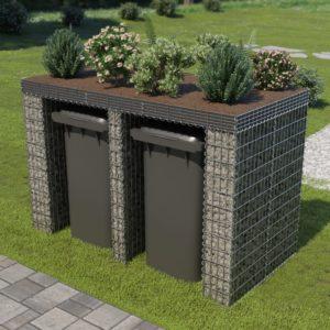 Gabionenwand für Mülltonne Verzinkter Stahl 190×100×130 cm