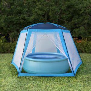Poolzelt Stoff 660 x 580 x 250 cm Blau