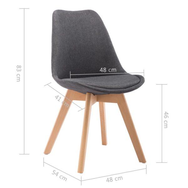 Esszimmerstühle 2 Stk. Dunkelgrau Stoff
