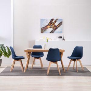 Esszimmerstühle 4 Stück Blau Stoff