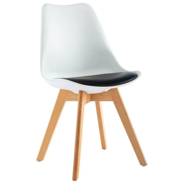 Esszimmerstühle 4 Stk. Weiß und Schwarz Kunstleder