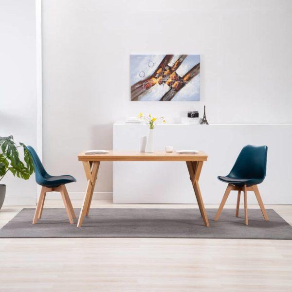 Esszimmerstühle 2 Stk. Türkis und Schwarz Kunstleder