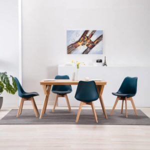 Esszimmerstühle 4 Stk. Türkis und Schwarz Kunstleder