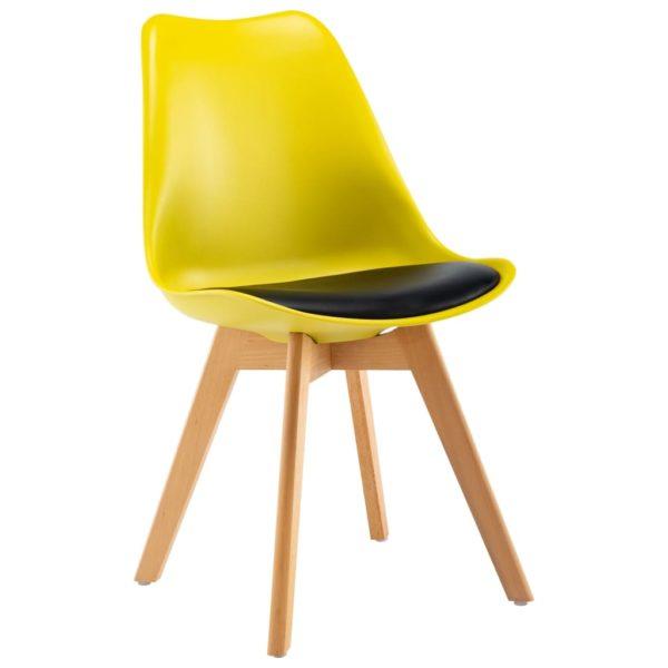 Esszimmerstühle 2 Stk. Gelb und Schwarz Kunstleder