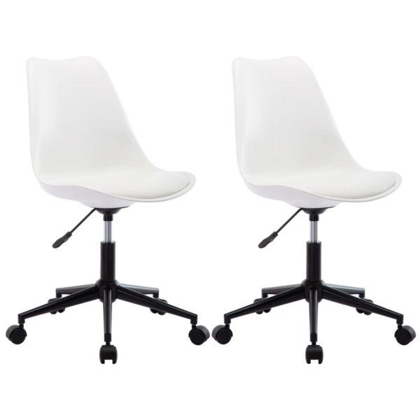 Drehbare Esszimmerstühle 2 Stk. Weiß Kunstleder