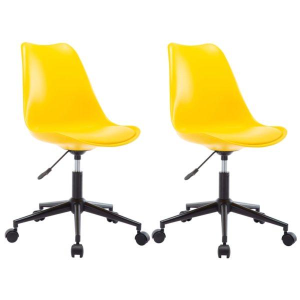Drehbare Esszimmerstühle 2 Stk. Gelb Kunstleder