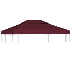 Dachplane für Pavillon mit Kaminabzug 310 g/m² 4×3 m Weinrot