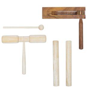 3-tlg. Schlagzeug-Set Holz