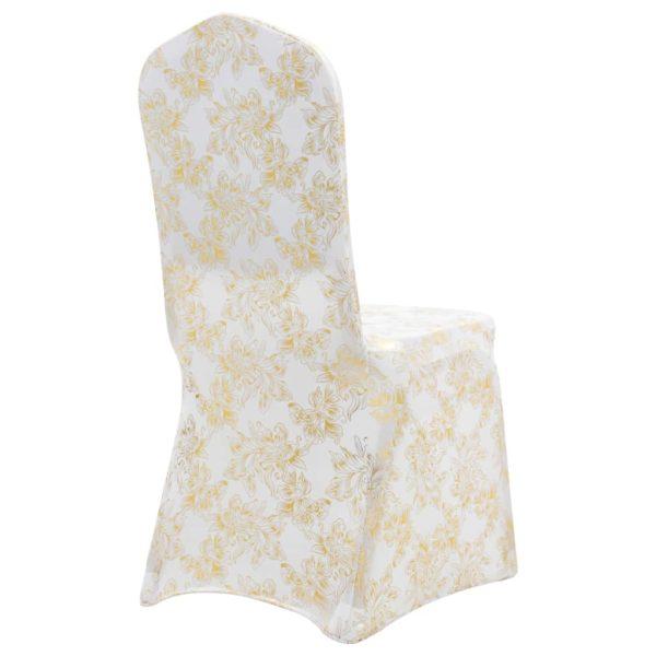 6 Stk. Stretch-Stuhlhussen Weiß mit Goldaufdruck