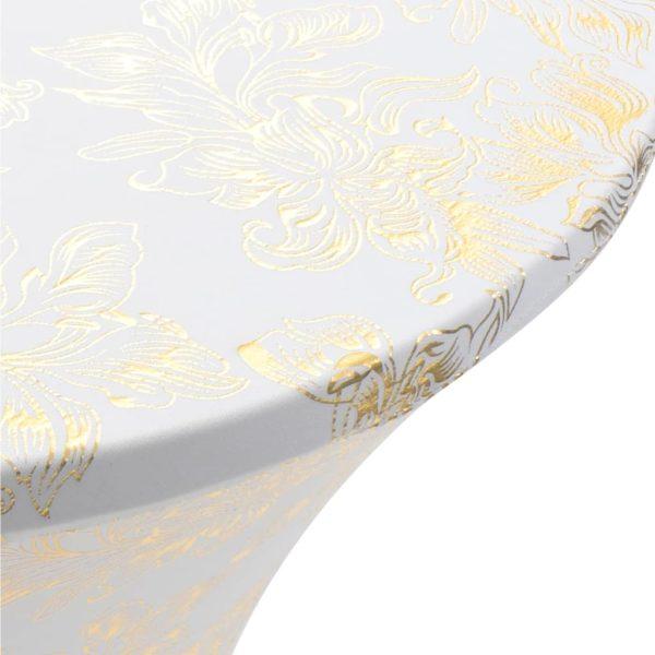 2 Stück Stretch-Tischdecken Weiß mit goldenem Druck 70 cm