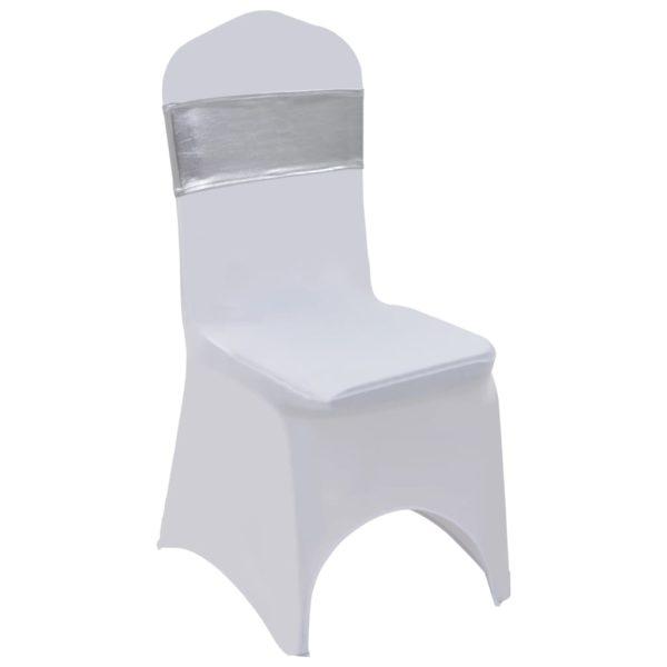 25 Stk. Dehnbare Stuhlbänder mit Diamantenschnalle Silbern