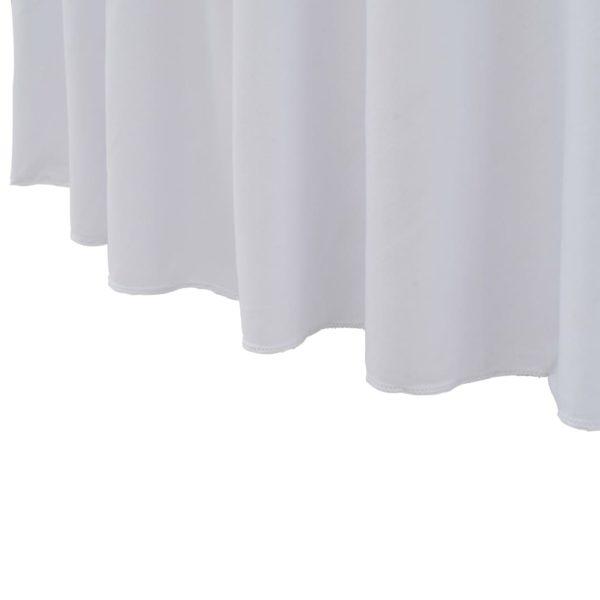 2 Stück Stretch-Tischdecken mit Rand Weiß 150×74 cm