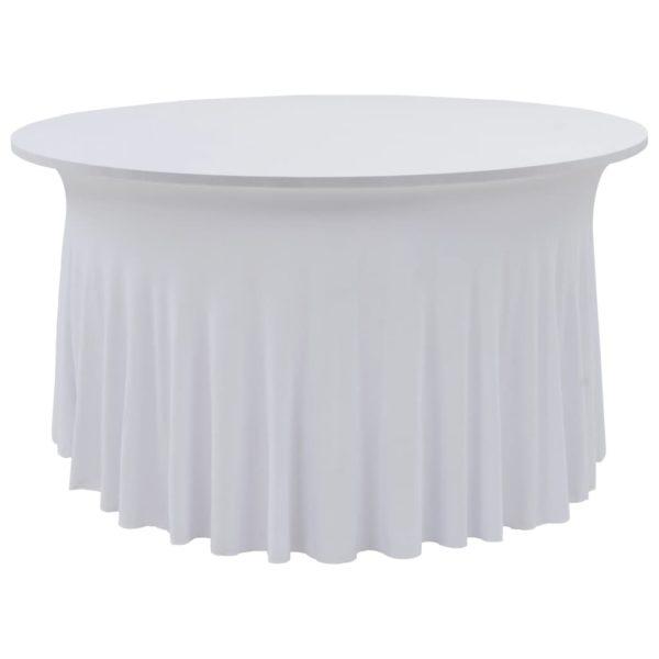 2 Stück Stretch-Tischdecken mit Rand Weiß 180 x 74 cm