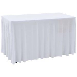 2 Stück Stretch-Tischdecken mit Rand Weiß 183 x 76 x 74 cm