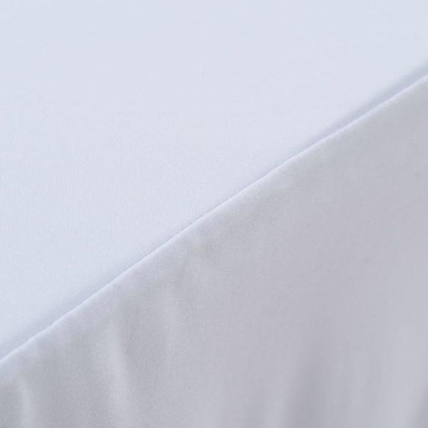 2 Stück Stretch-Tischdecken mit Rand Weiß 243 x 76 x 74 cm