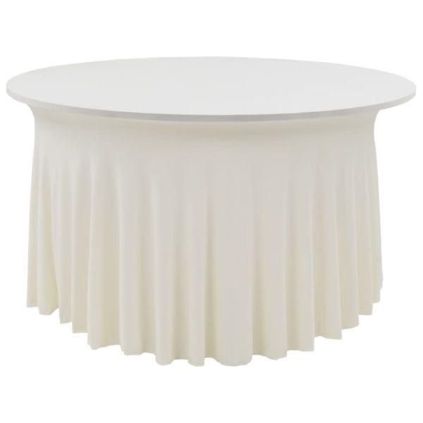 2 Stück Stretch-Tischdecken mit Rand Cremefarben 180 x 74 cm