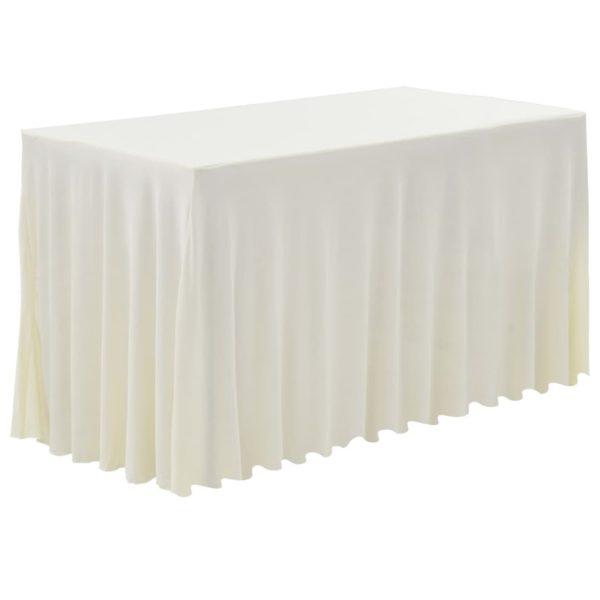 2 Stück Tischdecken mit Rand Stretch Creme 183 x 76 x 74 cm