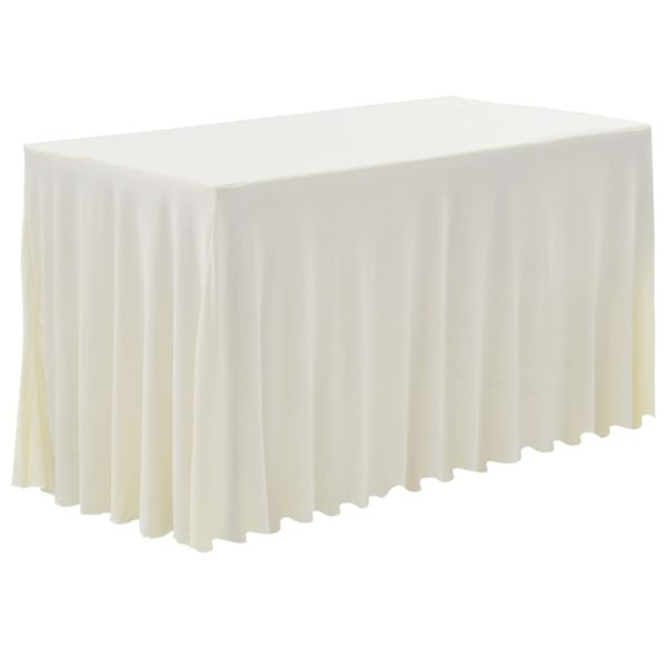 2 Stück Tischdecken mit Rand Stretch Creme 243 x 76 x 74 cm