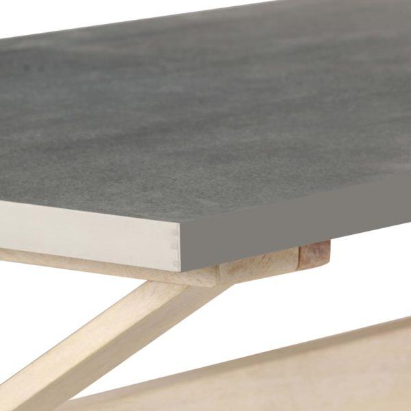Couchtisch mit Zinkplatte 110 x 60 x 40 cm Mangoholz Massiv