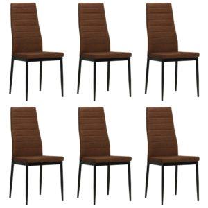 Esszimmerstühle 6 Stk. Stoff Braun
