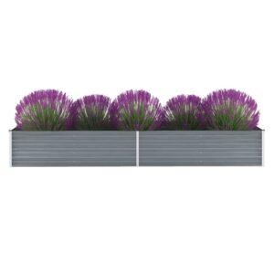 Garten-Hochbeet Verzinkter Stahl 320x80x45 cm Grau