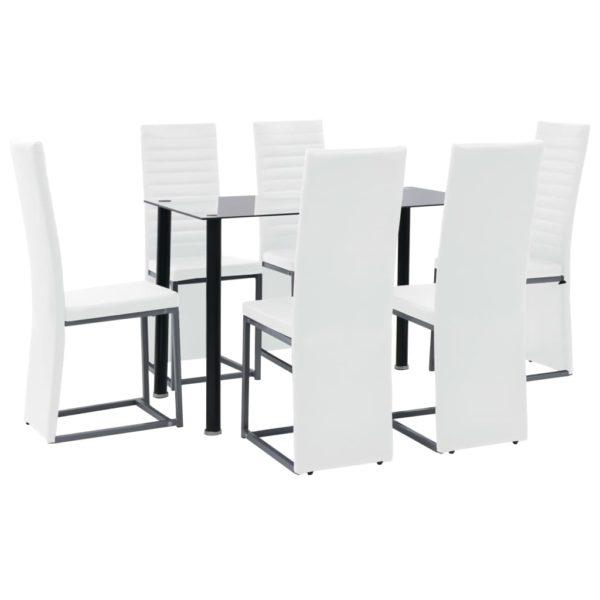 Essgruppe 7-tlg. Stahl und Hartglas Schwarz und Weiß