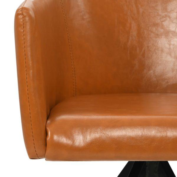 Drehbare Esszimmerstühle 2 Stk. Braun Kunstleder