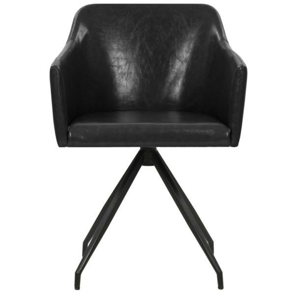 Drehbare Esszimmerstühle 2 Stk. Schwarz Kunstleder